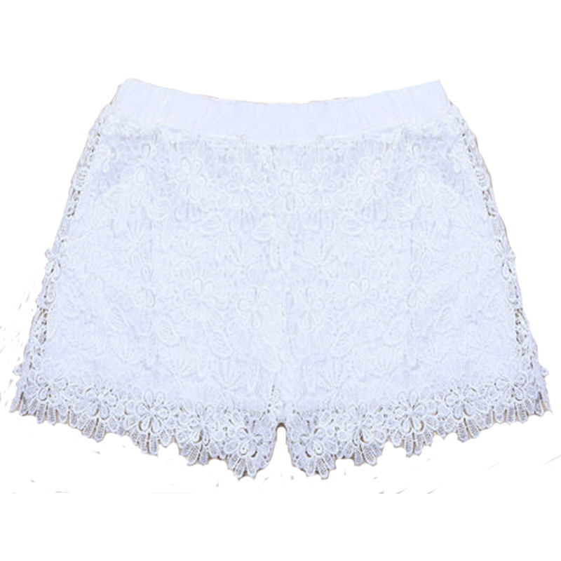 Crochet Tiered Lace Short Skirt Pants shorts Cotton Super ... |Black Tiered Lace Shorts