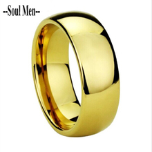 Tungsten Wedding Band 8MM Gold Plated Men Enagement Finger Ring Alliance Cool Classic Jewelry for Woman Size 4 to 13 WTU003R