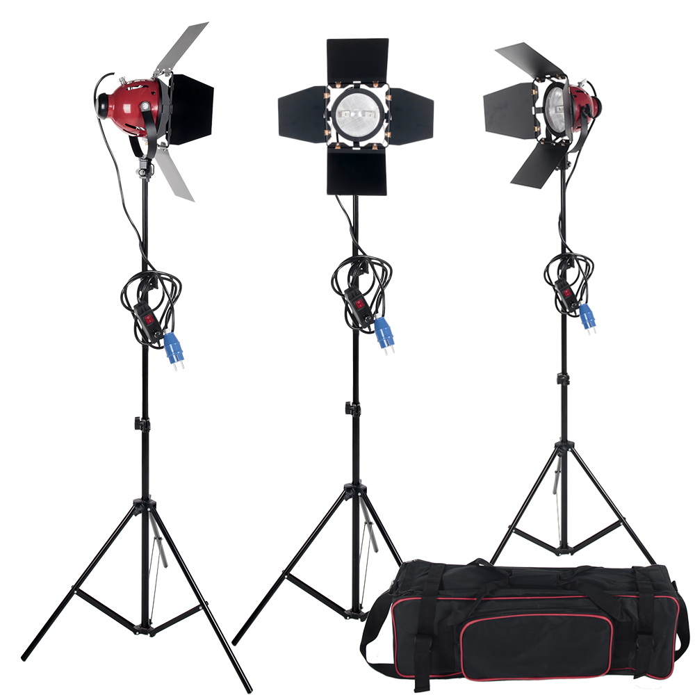 High Quality Photographic equipment Dimmer Switch 3pcs 800W Studio Video Red head Lighting Kit + Bulb+Carry bag ashanks 800w studio video red head light with dimmer continuous lighting bulb free shipping