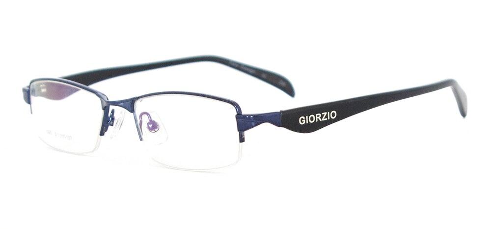 Мужская классическая оправа для очков прямоугольная металлическая полуоправа очки для рецептурных линз Близорукость прогрессивная - Цвет оправы: Синий