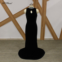 Black Velvet Long Evening Dress 2018 Elegant High Neck Pearls Sweep Train Formal Party Gowns Custom