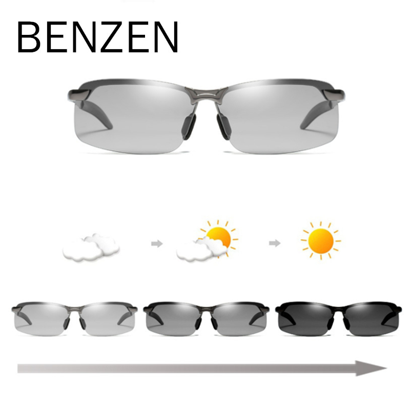 BENZEN Photochromic Sunglasses Men Polarized Discoloration