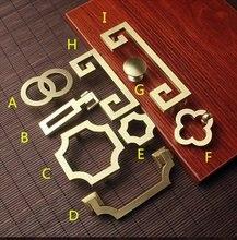 цена на Gold Brass Cabinet Door Knob Handle Dresser Knobs Pulls Drawer Handles Drop Bail Pulls Kitchen Cupboard Pull 32 64 96 128mm