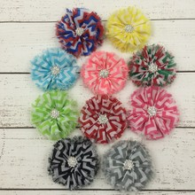 120pcs/lot 10colors Ballerina Chiffon Flower+Rhinestone Button For Hair Accessories Striped Leopard Fabric Flowers For Headbands