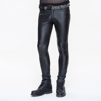 Devil Fashion Spring New Steampunk Men Casual Leather Pants Men High Waist Black Striped Trousers Men Slim Fit