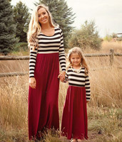 Fashion Mom And Kids Couple Look Long Sleeved Dress Family Matching Outfit Clothes Dress Mother Daughter