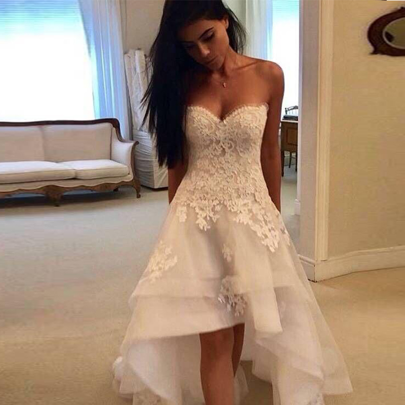 2019 Modest Beach Wedding Dresses Sweetheart Appliques High Low Country Wedding Dress Bridal Gown Robe Mariage Vestido de Novia-in Wedding Dresses from Weddings & Events    1