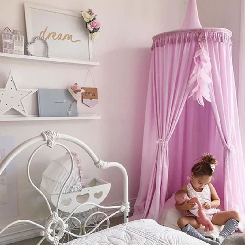 Children Hung Dome Bed Curtain Tent Baby Bed Tassel Mosquito Net Play Tent Hanging Kids Teepees For Baby Room Tipi Decoration