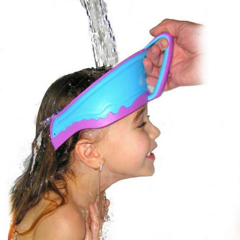 2016 Baby Care Shower Cap Child Baby Bath Hat Baby Kids Children Shampoo Bath Shower Waterproof Shield Hat Cap Wash Hair 3 Color