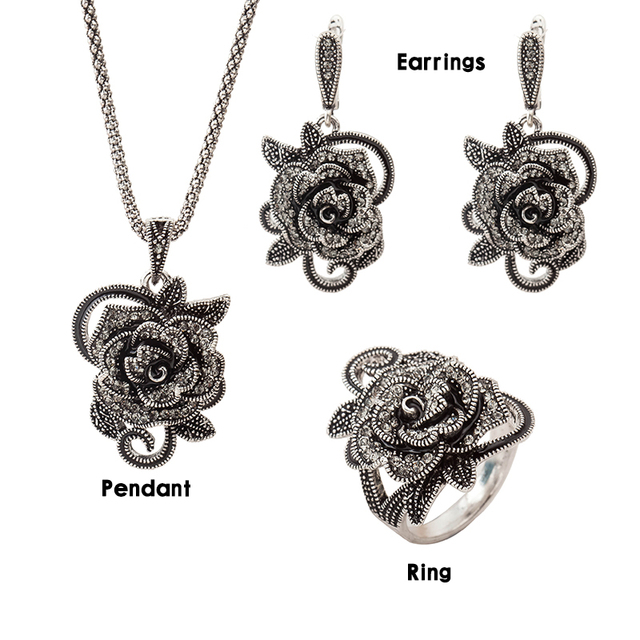 2016 New Arrival Hight Quality Women Vintage Jewellery Antique Silver Plated Retro Black Rose Flower Enamel Jewelry Sets