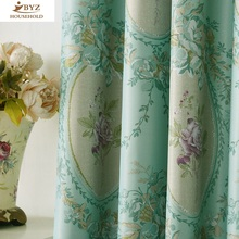 The Blue Shading Curtain Fabrics European Pattern Simple Modern Curtains for Living Dining Room Bedroom Window