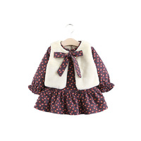SFT 033 2018 Autumn/Winter baby girls clothing set Flowered Lotus Leaf Edge Dress + Waistcoat for 0 3 years old baby