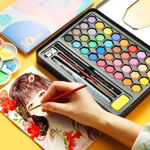 Image 2 - Di alta Qualità 36 Colori Portatile Da Viaggio Solid Pigment Colori Ad Acquerello Set Con Pennello Penna Acquerello Per La Pittura Rifornimenti di Arte