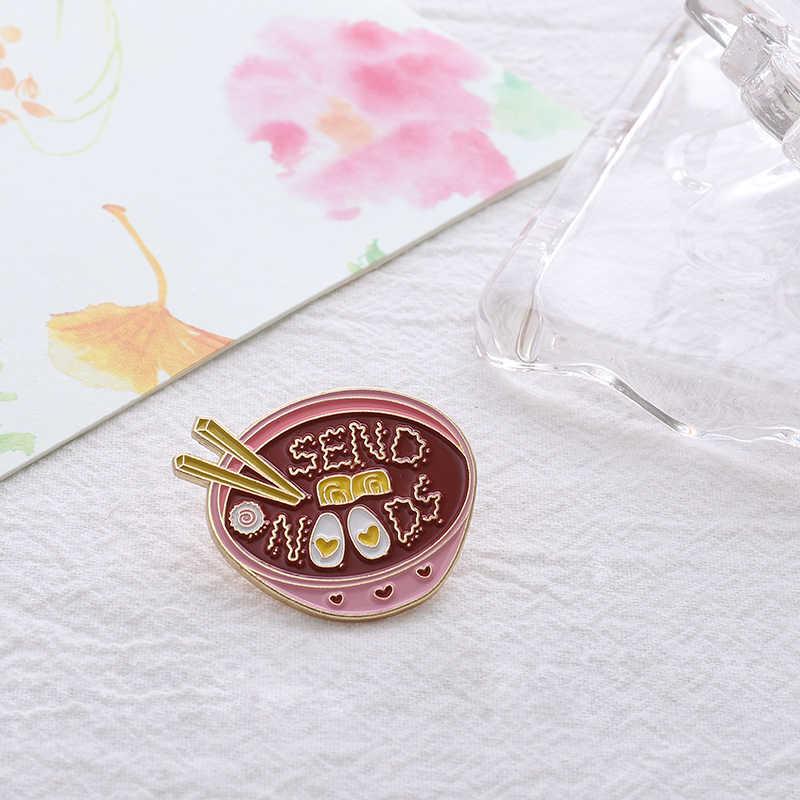 Ramen Jepang Pin Mengirim Cinta Mie Pink Mangkuk Enamel Bros Wanita Makanan Lezat Kerah Pin Lencana Lucu Gadis Gaya perhiasan