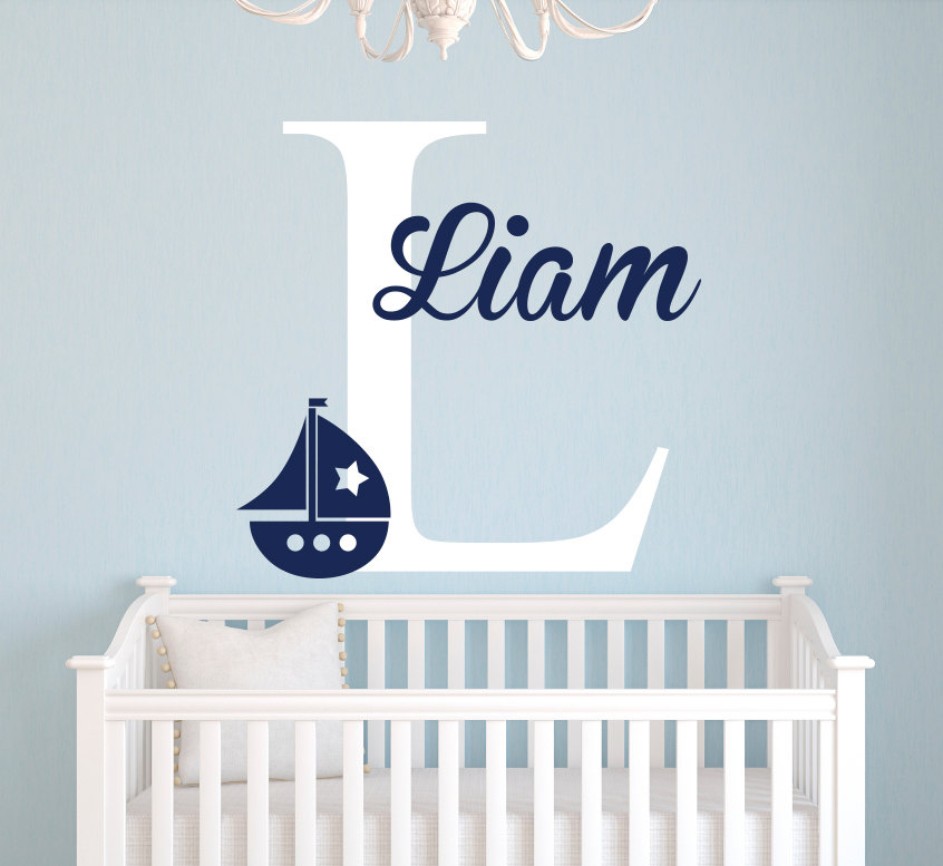 personalized name nautical baby room decor wall stickers anchor wall decal for boys bedroom. Black Bedroom Furniture Sets. Home Design Ideas