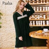 2018 New Autumn Night Dress Long Sleeve V Neck Lace Sleepwear Velour Dress Women Nightwear Nightgown Sleep wear Casual One Size