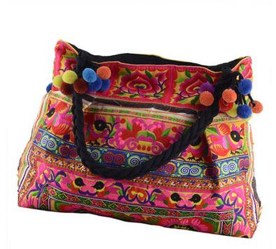 Nice Vintage Embroidered Shopping Women Casual Tote!Fashion Floral Embroidery Lady Shoulder&handbag Hot Multi-use Canvas Carrier image
