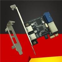 新 USB 3.0 PCI-E 拡張カードアダプター外部 2 ポート USB3.0 ハブ内蔵 19pin ヘッダ Pci-E カード 4pin Ide 電源コネクタ