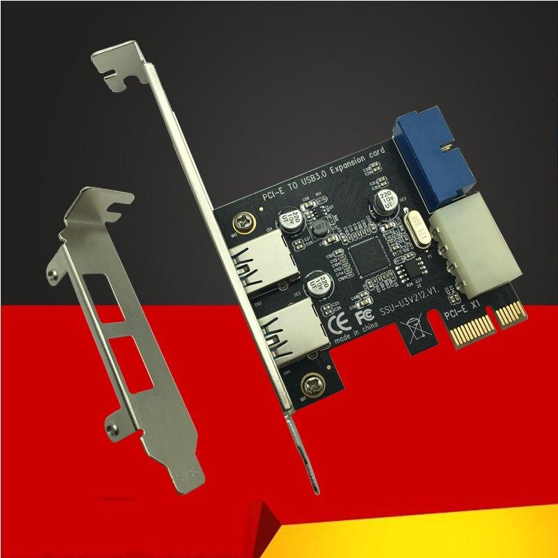 Nuevo USB 3,0 PCI-e tarjeta de expansión adaptador externo 2 USB3.0 Hub interior 19pin Header tarjeta PCI-e 4pin de alimentación IDE conector
