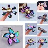 Hand Spinner Rainbow Legering Finger Gyro Tri Fidget Spinner Rose Gold Metal Blue Wheel Fly Flower