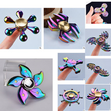 Hand Spinner Rainbow Legering Finger Gyro Tri Fidget Spinner Rose Gold Metal Blue Wheel Fly Flower