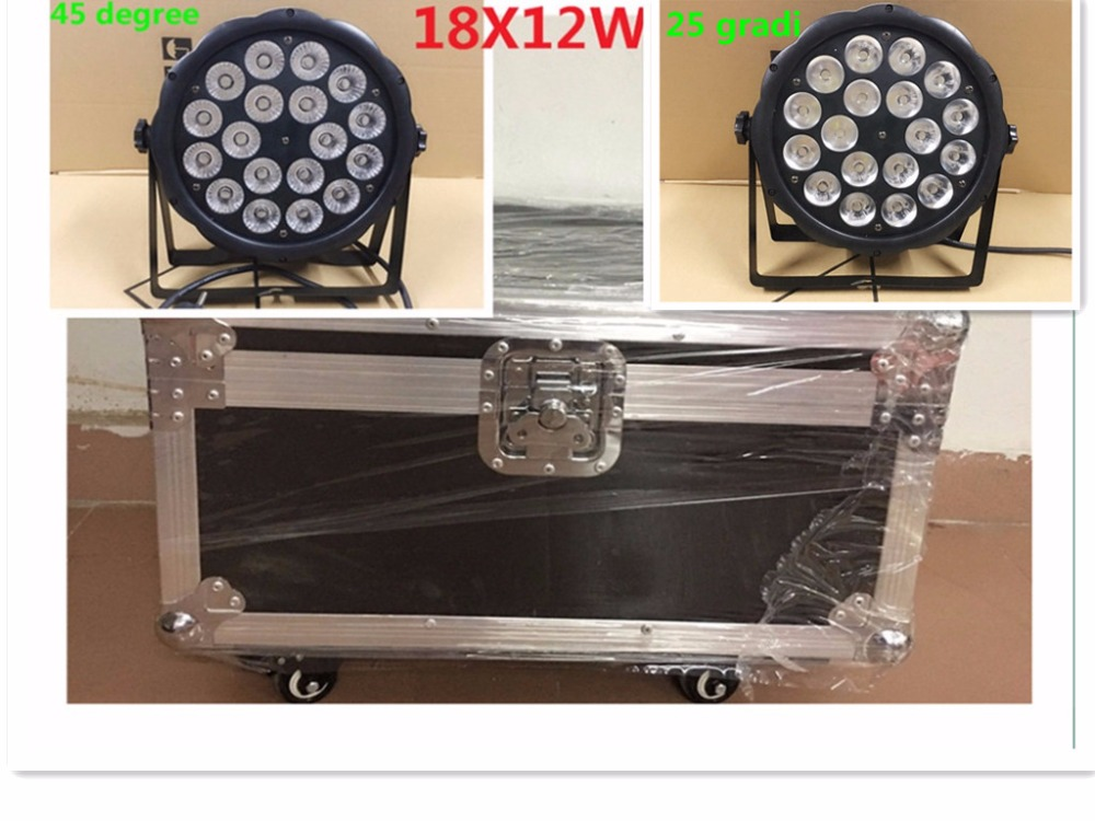 8 pz LED Par Luce 18x12 W + flightcase RGBW 4IN1 LED di Lusso DMX Led Flat Par Luci dj 8 pz 18x18 w zoom luci led par con 1 flight case rgbwa uv 6in1 led par luce dj controller dmx luci led zoom par luce