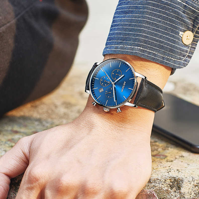 イソップ黒スポーツ腕時計メンズクォーツ腕時計レザーバンド男性時計腕時計耐衝撃防水レロジオ Masculino Satti 腕時計