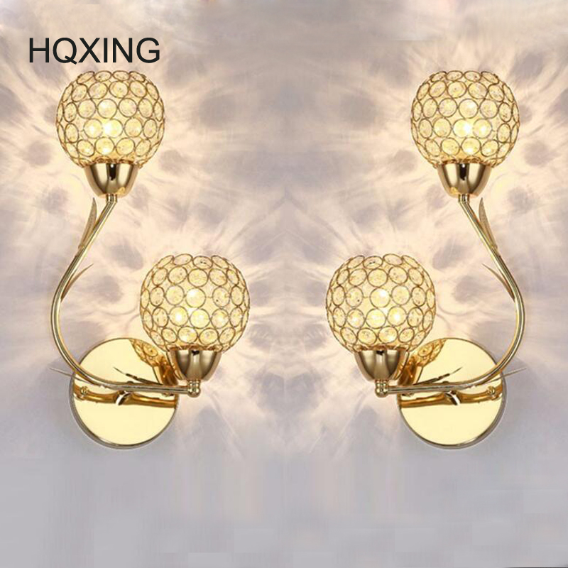 HQXING K9 Crystal Wall Sconces Modern Simple crystal gold creative LED bedside bedroom wall lamp double heads aisle Wall Lamps genuine new laptop ac dc power jack connector cable wire socket for asus k56 k56c k56ca k56cm x550 x550c x550ca x550cc x550cl