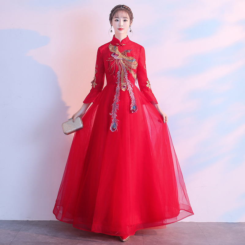 Elegant Red Slim Ladies Cheongsam Traditional Chinese Women Wedding Dress Embroidery Phoenix Toast Clothing Evening Party Gowns