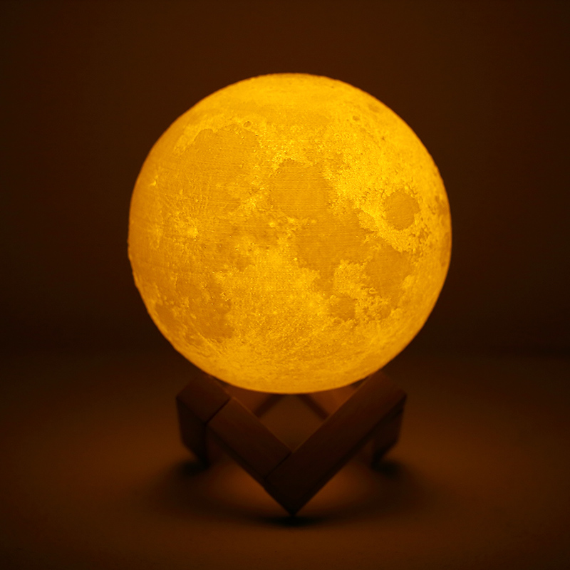 Rechargeable 3D Print Moon Lamp LED Night Light 2 Color Change Touch Switch Luna Bedroom Moon