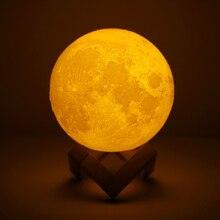 Перезаряжаемый 3D принт лунный светильник светодио дный светодиодный ночник 2 цвета сменный сенсорный переключатель Luna спальня лунный свет для креативного подарка домашний декор