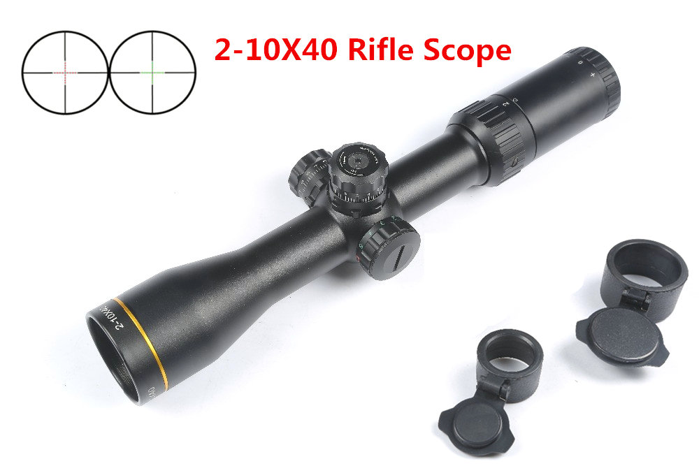 MIZUGIWA Hunting Scope 2-10X40 Rifle Scope Red Green illumination Reticle Mil-dot Scope Air Rifle Sight Caza Mira Para Optical 3 10x42 red laser m9b tactical rifle scope red green mil dot reticle with side mounted red laser guaranteed 100%