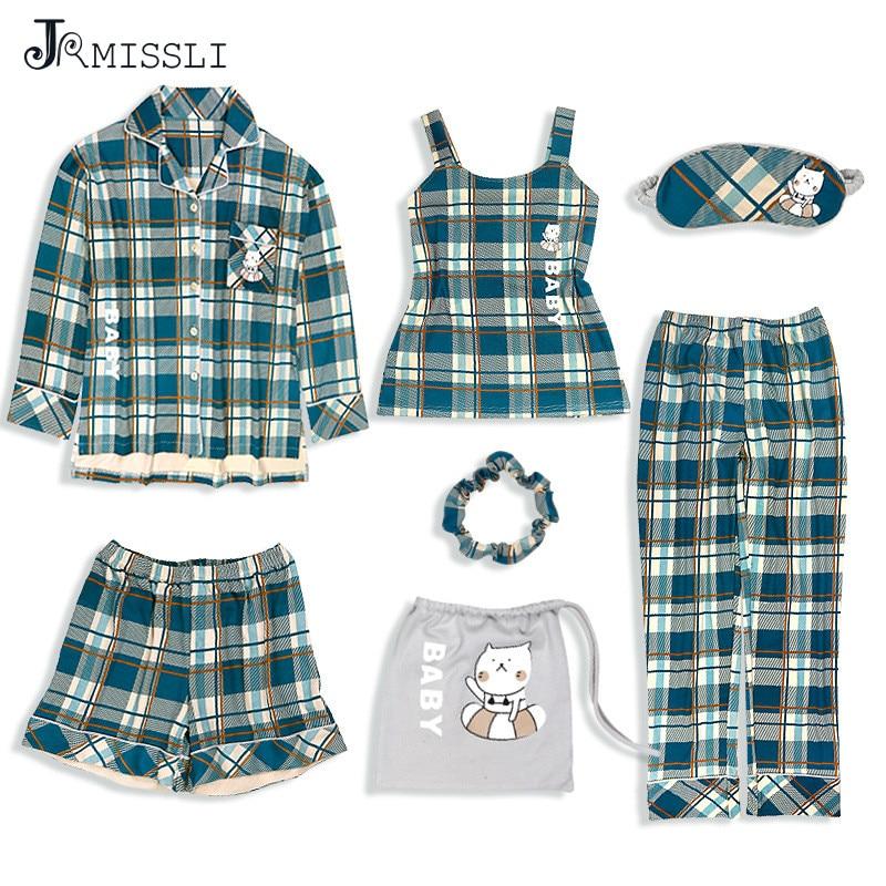 JRMISSLI 2019 Green Plaid Woman Pajamas Set Cotton Simple Female Home Wear Clothing 7 Pieces Pyjamas