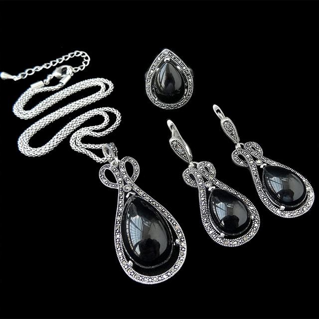 HENSEN Joyería Conjunto Plateado Plata Antigua de La Vendimia Retro Crystal Water Drop Negro Mujeres Sistemas de La Joyería