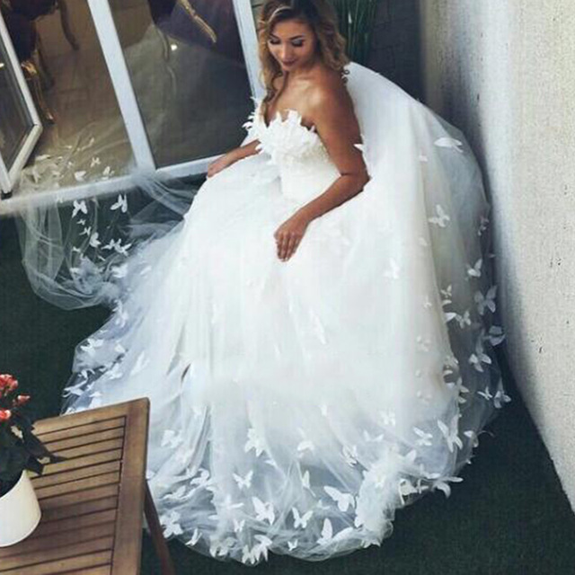 2016 Sweetheart robe de mariage  Plus Size  alibaba china Romantic Princess Ball Gown Tulle Butterfly Wedding Dresses