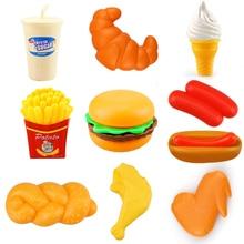 10 stücke Miniatur Lebensmittel Küche Spielzeug Set Pretend Spielen Tun Haus Simulation Kochen Snack Hamburger Pädagogisches Spielzeug Für Mädchen Kid