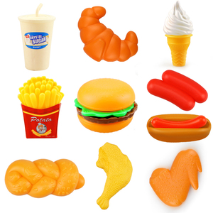 10PCS Miniature Food Kitchen Toy Set Pretend Play Do House Simulation Cooking Snack Hamburgers Educational Toys For Girl Kid(China)