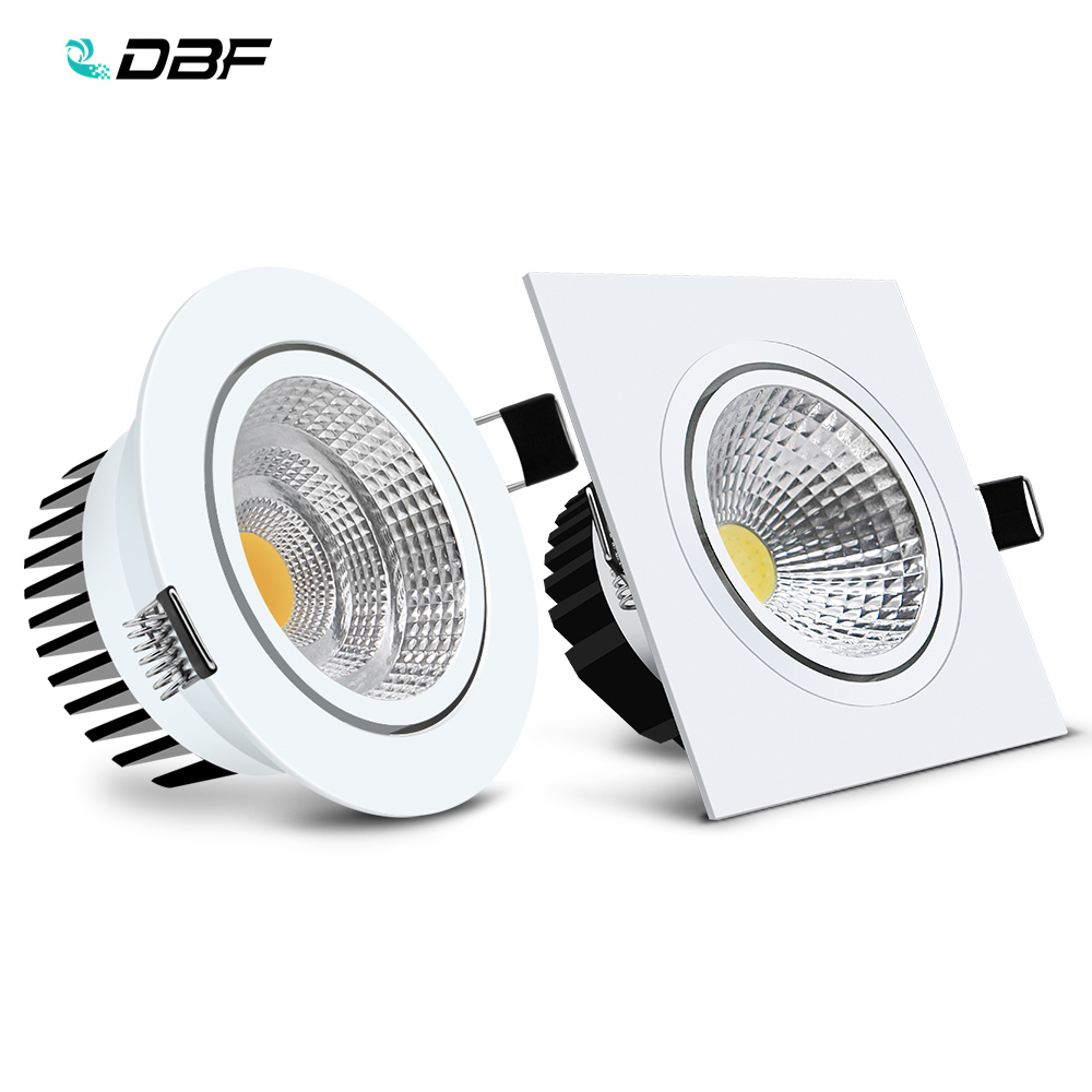 [DBF]Round/Square Recessed LED Dimmable Downlight COB 6W 9W 12W 15W LED Spot Light LED Decoration Ceiling Lamp AC 110V/220V