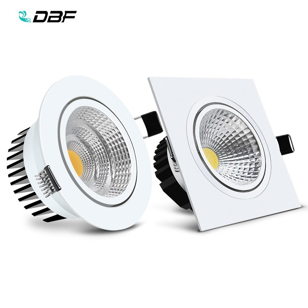 [DBF] Runde/Quadratische Einbau LED Dimmbare Downlight COB 6W 9W 12W 15W LED spot Licht LED Dekoration Decke Lampe AC 110V/220V