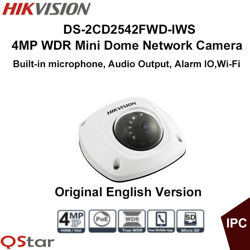 Hikvision Original English Wireless IP CCTV Camera DS-2CD2542FWD-IWS 4MP Dome IP Camera POE built in microphone WIFI Camera ip67