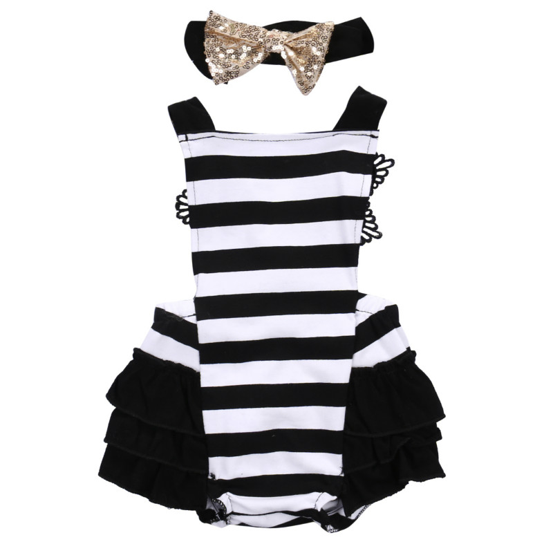 Hot Sale Infant Kids Baby Girl Fashion Clothes Lace Back Cross Jumpsuit Tutu Layered Bodysuit Playsuit Sequins Headband Outfits