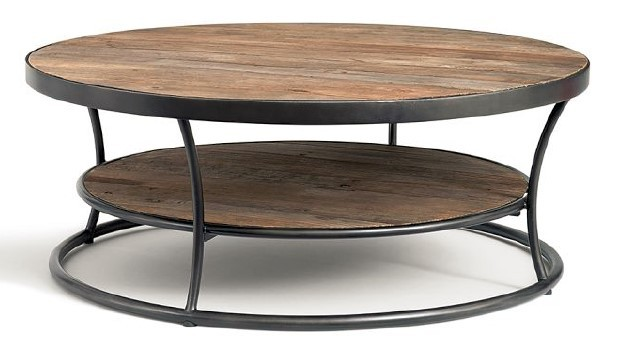 American Short Round Tea Table Coffee Table Ikea Iron Retro Wood