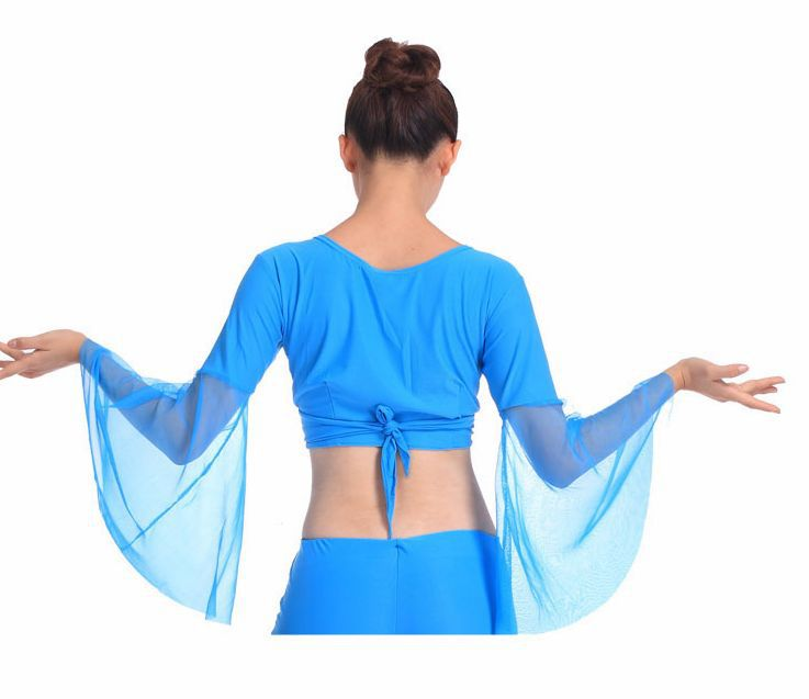Picture of 2016 Hot Popular Sexy Women Chiffon Lake Blue Belly Dance Tops Dancing Costume Dress On Sale