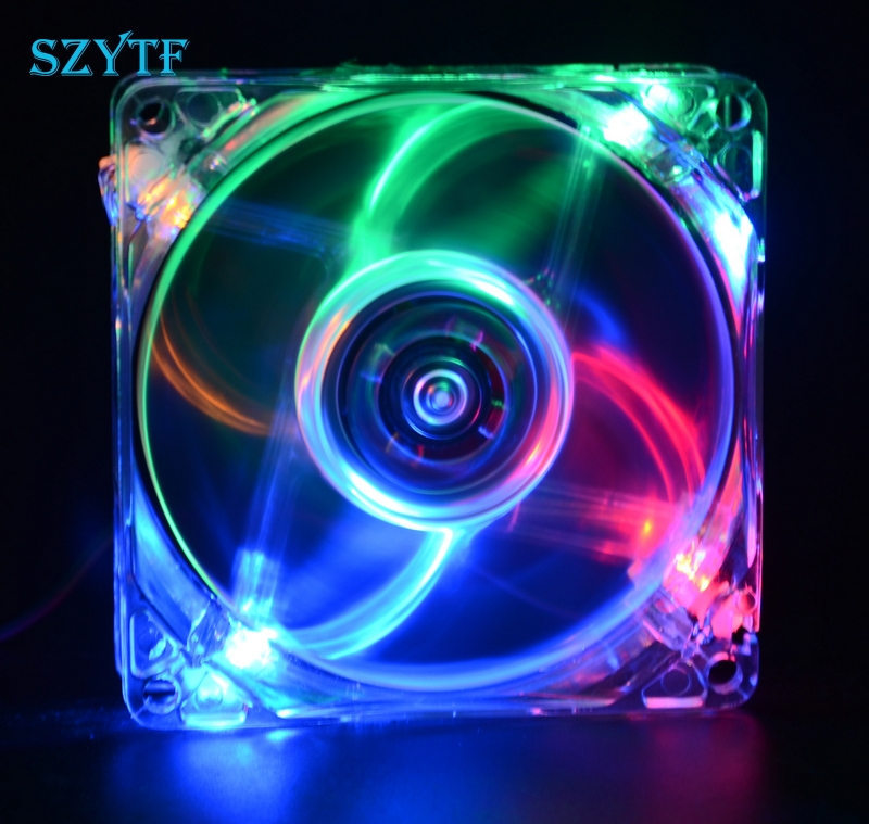 pc computer fan case cooling fan unit fan 8025 8cm with  LED lights  chassis fan  80*80*25 new original sanyo 9gl0812p1k05 12v 1 8a 80 80 38mm 8cm computer server cooling fan