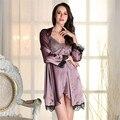 2 ШТ. Женщины Пижамы Пижамы Кимоно Халат Soild Весна Лето Повседневная Шелковый Халат Пояса Элегантный Ванная Комната Спа Халат SY321-7405