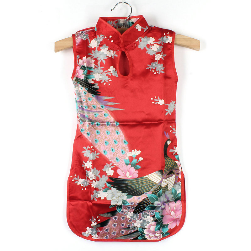 Китайский Cheongsam Детское платье для маленьких девочек ретро цветочные Павлин платье для 2 до 8 лет Обувь для девочек