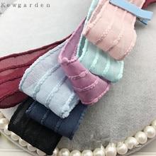 Kewgarden 40mm 4cm Stripe Yarn Ribbon DIY Bowknot Accessories Satin Ribbons Handmade Tape 4m/lot
