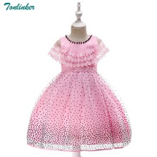 Tonlinker Flower Girl Dress 2018 Girls Kids For autumn sleeveless Lace Princess baby Christmas costume Party dress