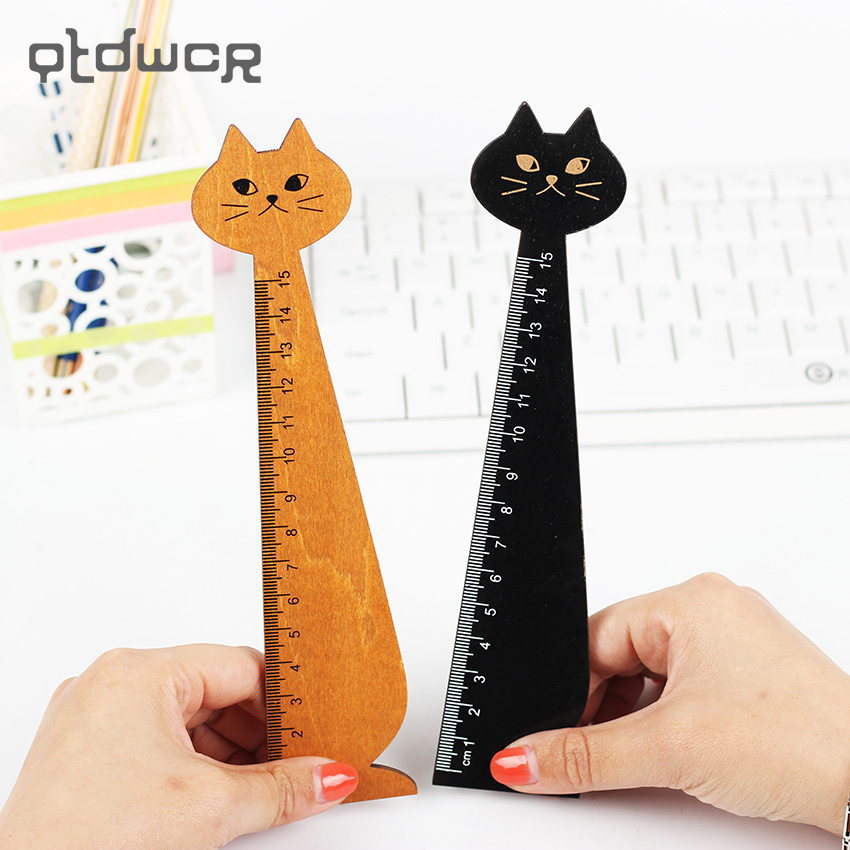 1PC Lovely Cat Shape Ruler Cute Wood Animal Straight Ruler Gift For Kids School Supplies Stationery Black Yellow