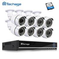 Techage 8CH 1080 P HDMI CCTV Системы AHD DVR Kit 8 шт 2.0MP 1080 P HD система наблюдения с инфракрасными датчиками Камера P2P видео набор для наблюдения 2 ТБ HDD